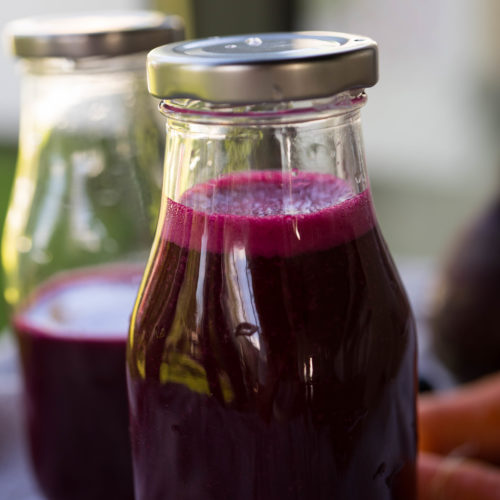 Beetroot juice in a bottle