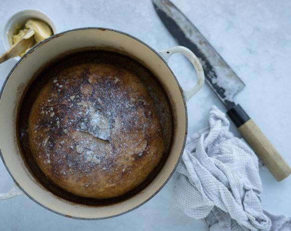Bread in a cast iron pot
