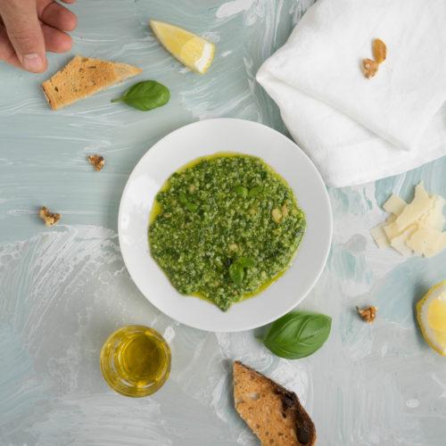 Pesto on a plate