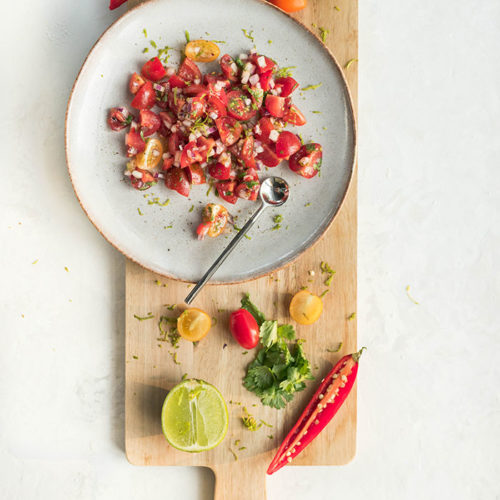 Pico de gallo with ingredients