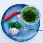 Chimichurri served in a glass