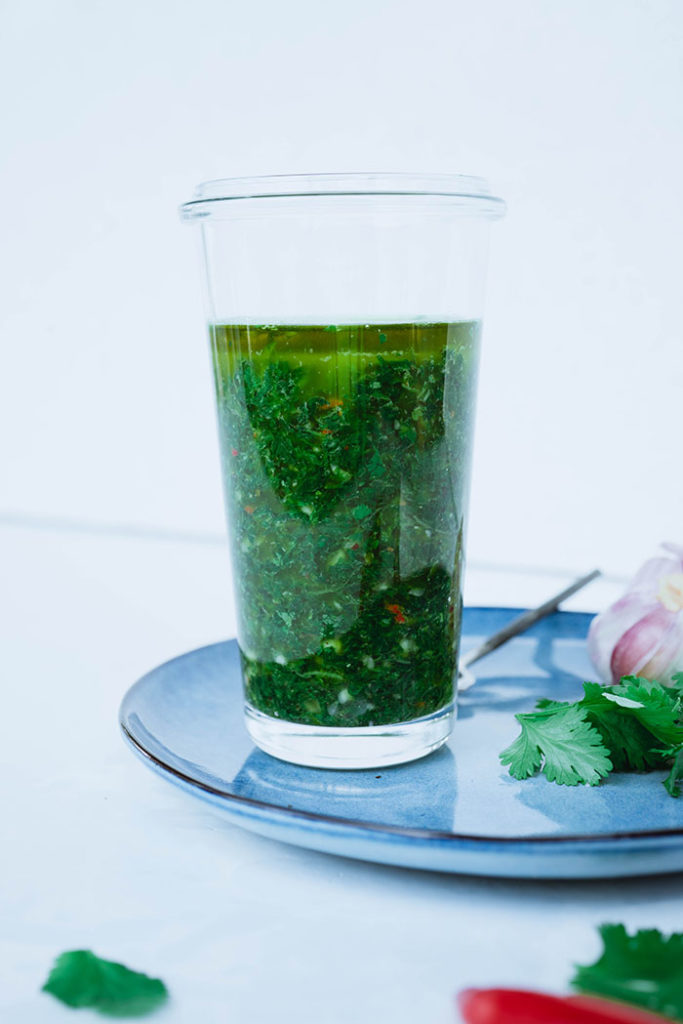 Chimichurri served in glass