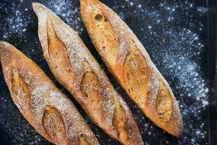 Baguettes on baking tray