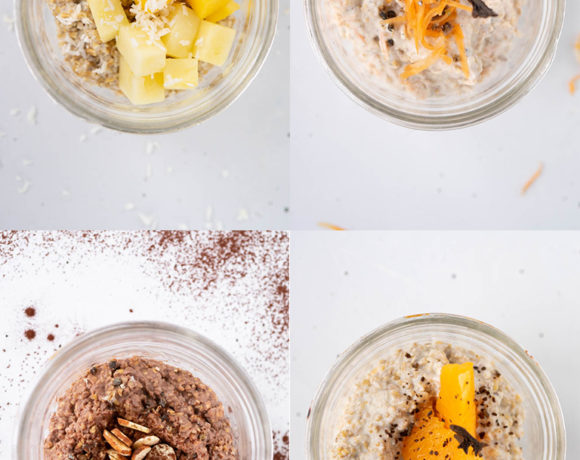 Four different steel cut overnight oats