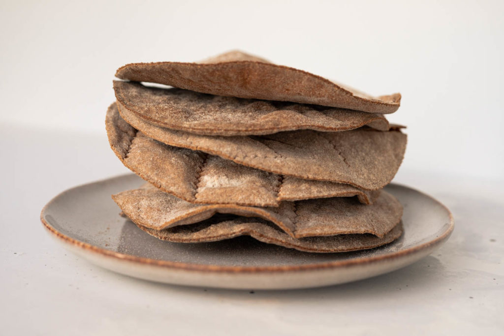 Rye crispbreads stacked on top of each other