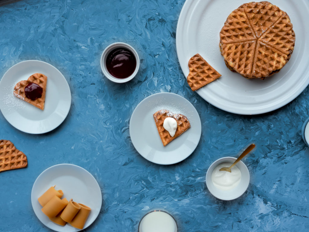 Oat waffles with sour cream
