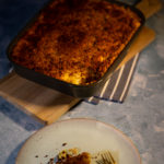 Fish pie on a dish and a pan
