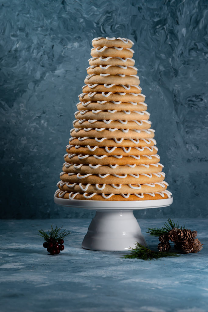 Norwegian towering cake blue background